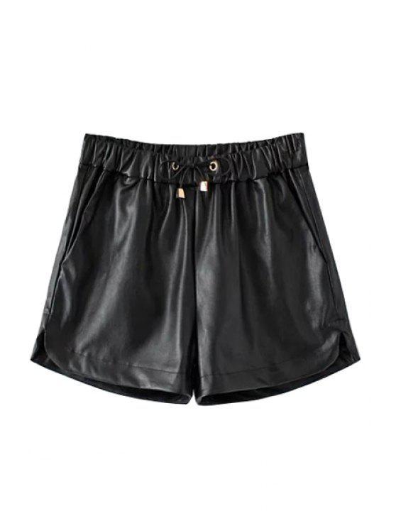 chic PU Leather Elastic Waist Drawstring Shorts - BLACK S