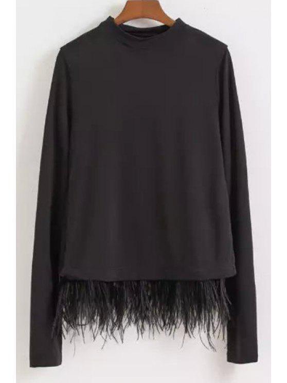 latest Feather Spliced Long Sleeve Sweatshirt - BLACK S
