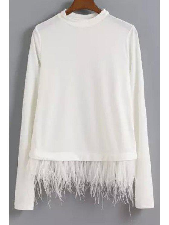sale Feather Spliced Long Sleeve Sweatshirt - WHITE S