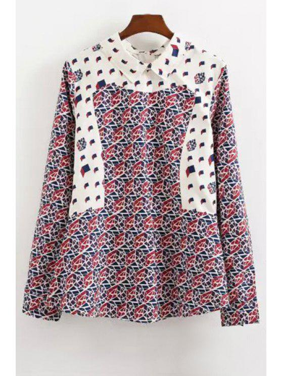 lady Geometric Print Turn Down Collar Long Sleeve Blouse - RED S