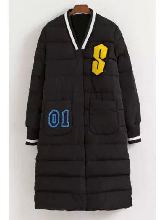 lady Letter Pattern V Neck Long Sleeve Down Coat - BLACK XS