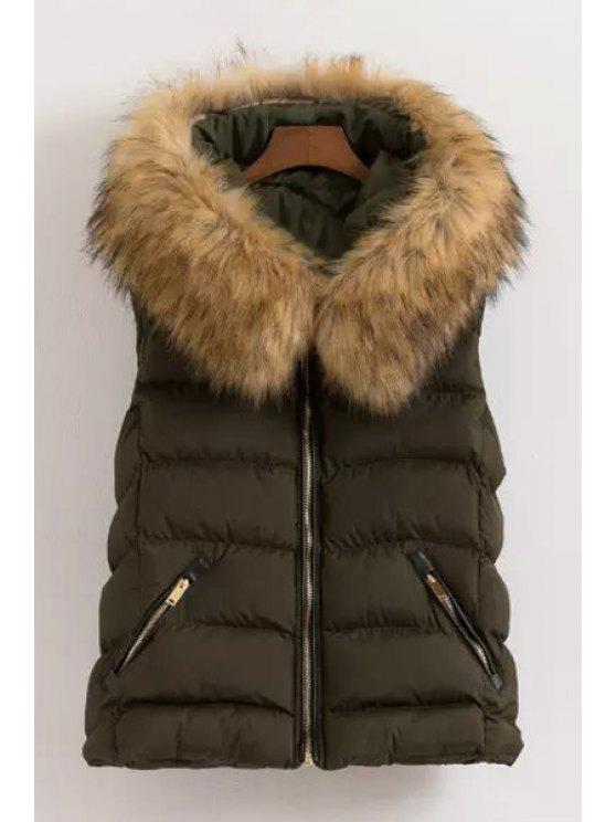 trendy Fur Collar Hooded Waistcoat - GREEN L