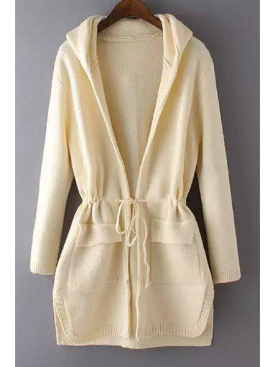 women Solid Color Drawstring Hooded Long Sleeve Coat - OFF-WHITE ONE SIZE(FIT SIZE XS TO M)