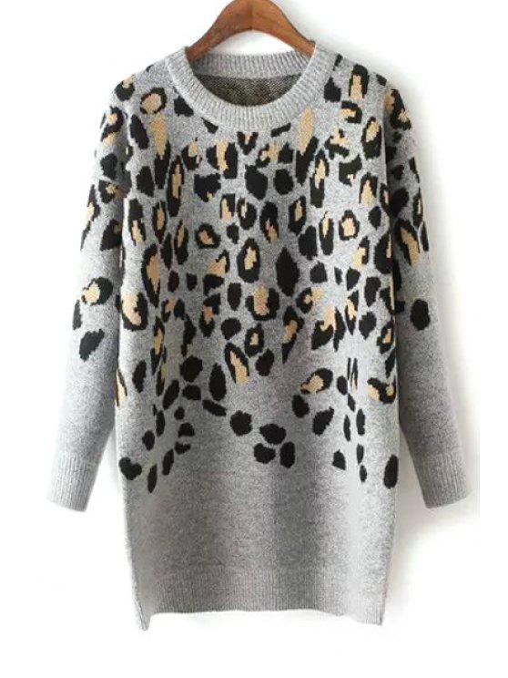 shop Leopard Pattern Long Sleeve Jumper - GRAY ONE SIZE(FIT SIZE XS TO M)