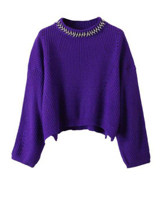 shops Beaded Round Neck Long Sleeve Jumper - PURPLE ONE SIZE(FIT SIZE XS TO M)