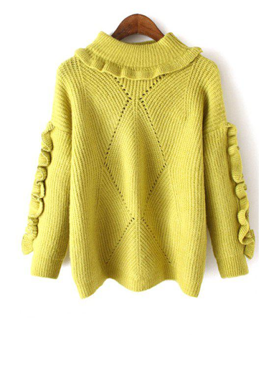 chic Ruffles Spliced Round Neck Long Sleeve Jumper - GREEN ONE SIZE(FIT SIZE XS TO M)