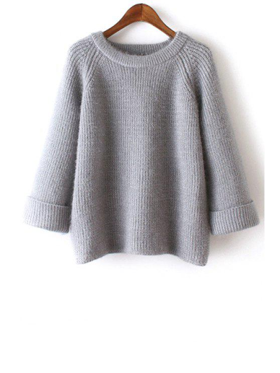 unique Pure Color Long Sleeves Scoop Collar Jumper - GRAY ONE SIZE(FIT SIZE XS TO M)