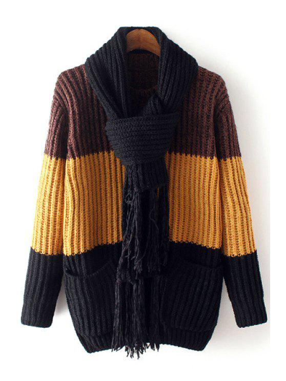 new Hit Color Long Sleeve with Scarf Jumper - COFFEE ONE SIZE(FIT SIZE XS TO M)