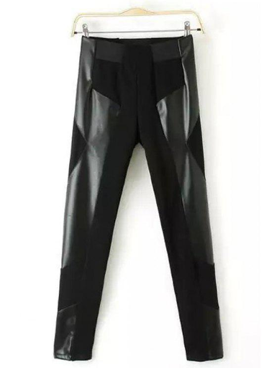sale PU Leather Spliced High Waisted Leggings - BLACK S