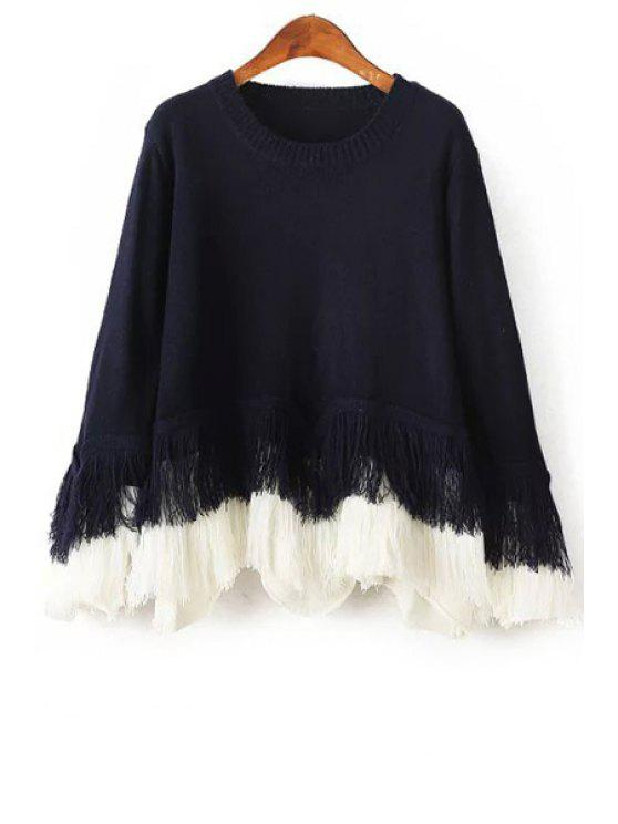 best Loose Fitting Fringes Round Collar Long Sleeves Sweater - PURPLISH BLUE ONE SIZE(FIT SIZE XS TO M)