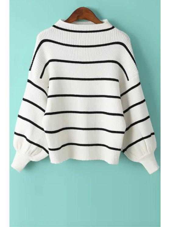 outfit Striped Stand Collar Long Puff Sleeves Sweater - WHITE ONE SIZE(FIT SIZE XS TO M)