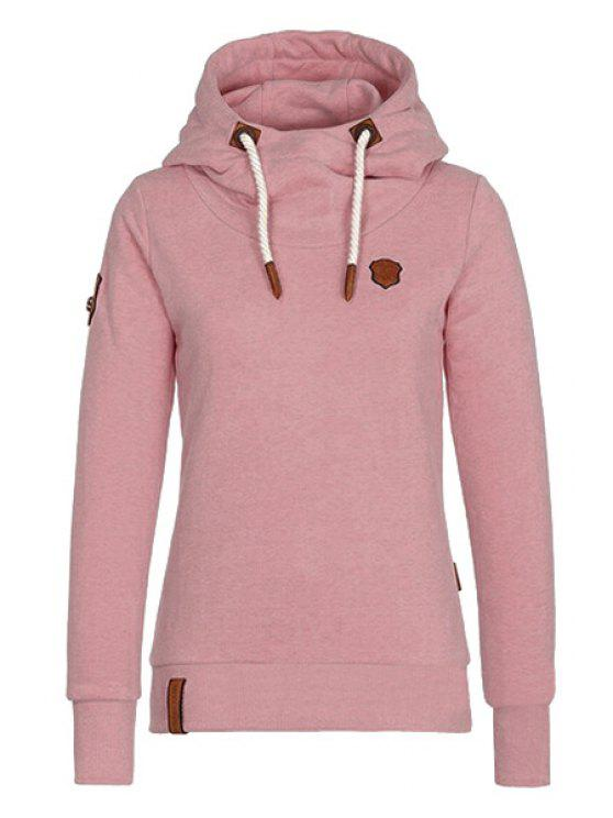 fancy Pure Color Long Sleeves Pullover Hoodie - PINK M
