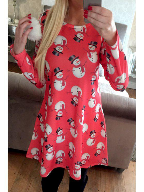 best Snowman Print Round Neck Long Sleeves Dress - RED S