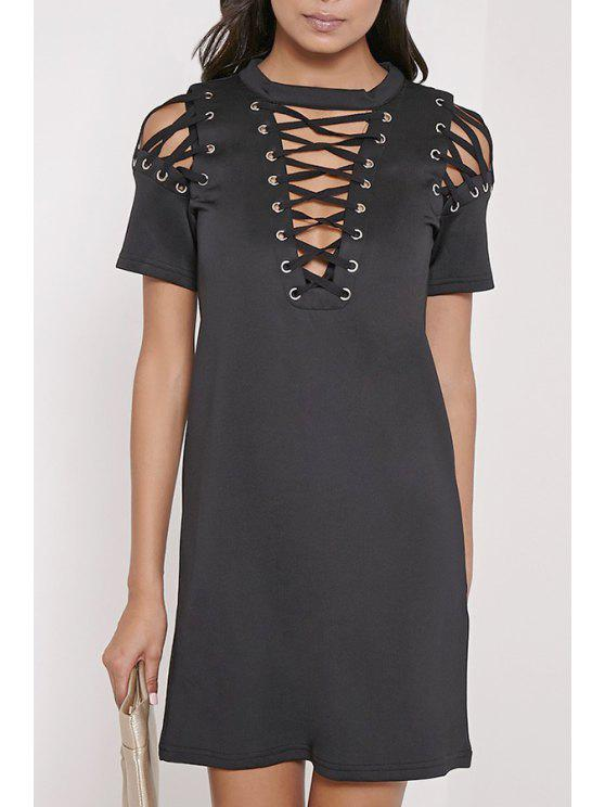 fancy Hollow Out Round Neck Short Sleeves Dress - BLACK S