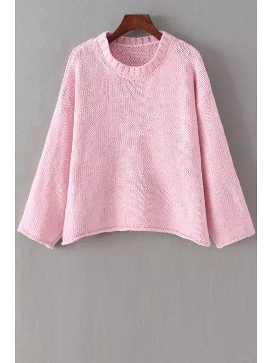 shop Solid Color Loose Fitting Round Collar Sweater - PINK ONE SIZE(FIT SIZE XS TO M)