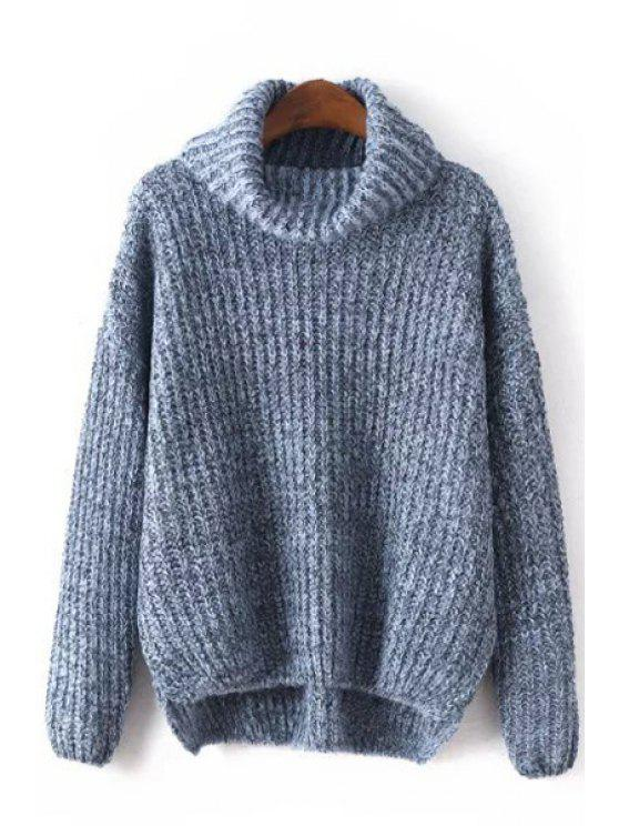 chic High Low Hem Loose Fitting Turtle Neck Sweater - BLUE ONE SIZE(FIT SIZE XS TO M)