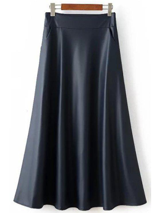 outfit PU Leather High Waisted Solid Color A Line Skirt - PURPLISH BLUE S