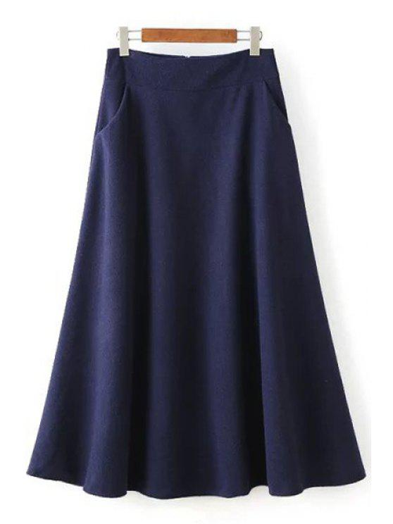 fashion Solid Color Woolen High Waisted A Line Skirt - PURPLISH BLUE S