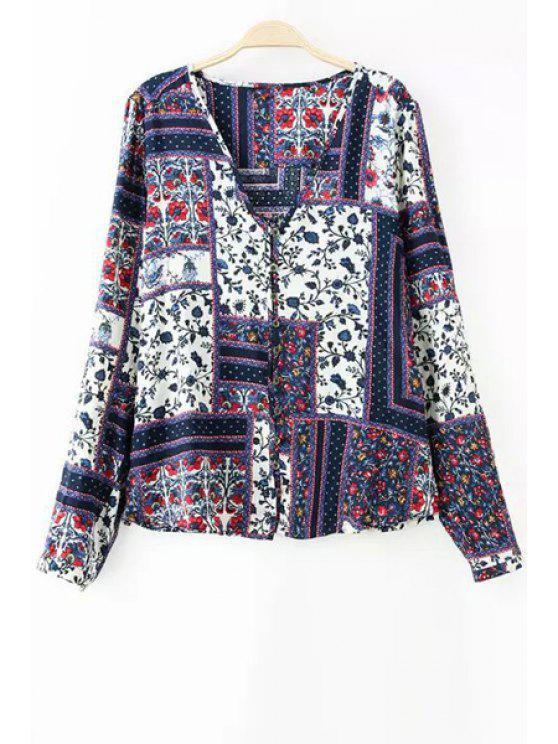 best V-Neck Printed Long Sleeves Blouse - COLORMIX S