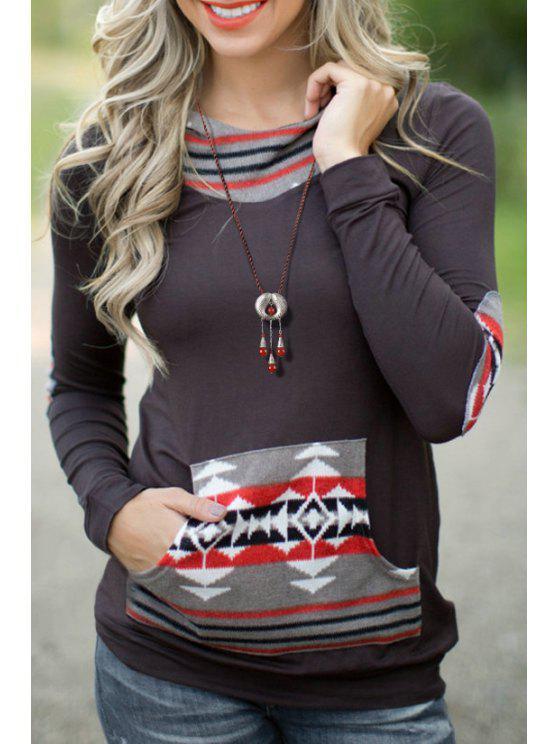 shops Geometric Pattern Long Sleeve Pullover Hoodie - BLACK S