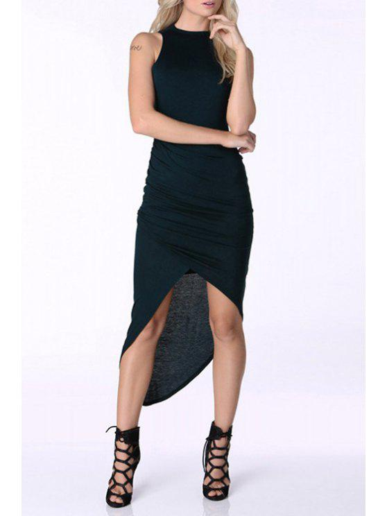 online Solid Color Asymmetric Round Collar Sleeveless Dress - BLACK XS