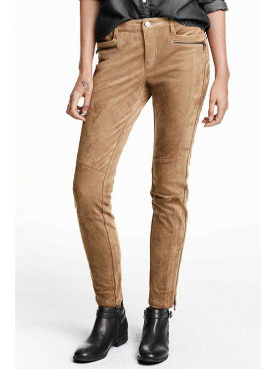 women Solid Color Suede Narrow Feet Pants - KHAKI XS
