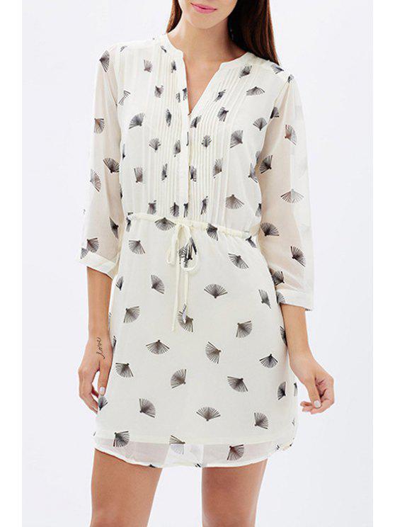 chic Fan Print 3/4 Sleeves Self-Tie Shirt Dress - WHITE XS