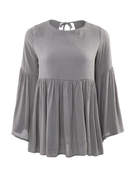 online Ruffle Backless Long Sleeve Blouse - DEEP GRAY S