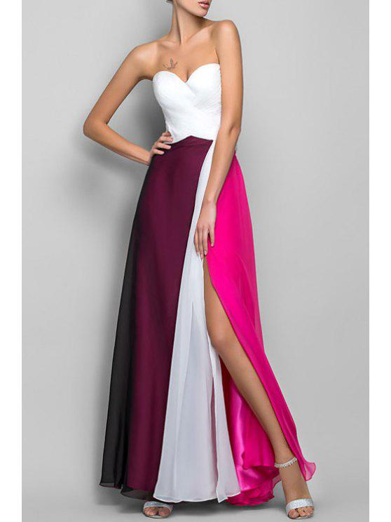 online Color Block High Slit Sweetheart Neckline Maxi Dress - WHITE S