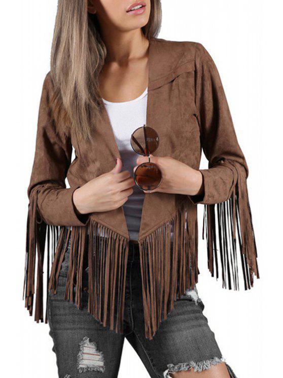 ladies Solid Color Suede Collarless Long Sleeves Jacket - DARK KHAKI XS