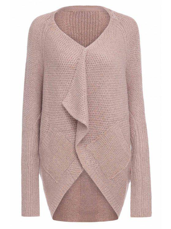 women Loose-Fitting Long Sleeves Solid Color Cardigan - PINK M