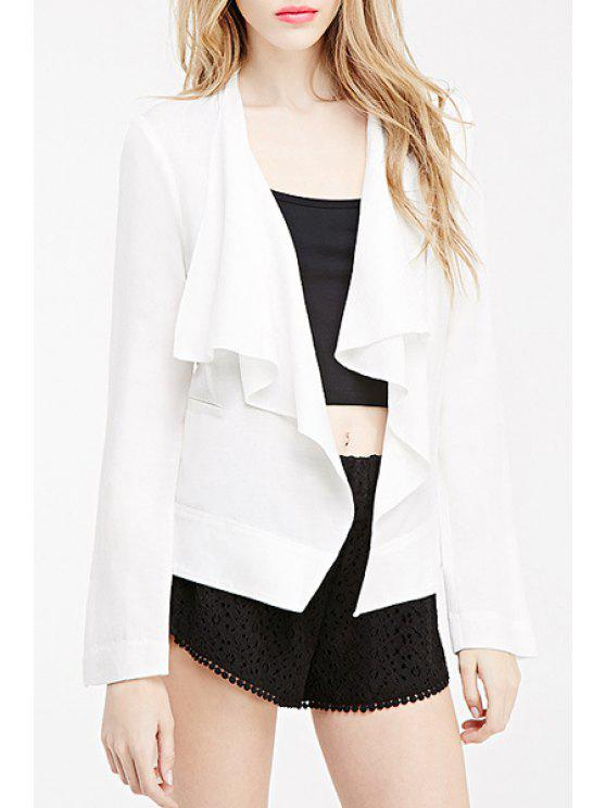 new White Turn Down Collar Long Sleeve Blazer - WHITE XS