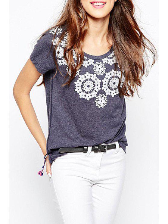 online Flowers Print Short Sleeves T-Shirt - PURPLE XS