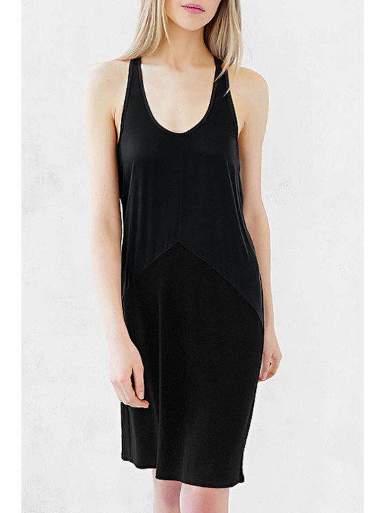 ladies Black U Neck Sleeveless Sundress - BLACK XS