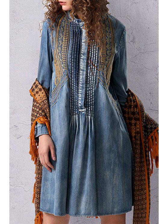 Stand Neck Embroidered Pleated Denim Dress - Azul Claro M