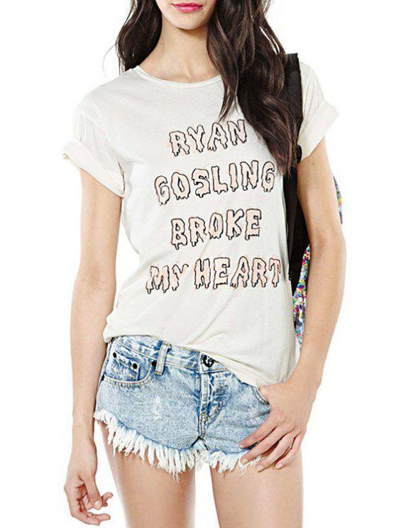 online Letters Print Round Neck Short Sleeves T-Shirt - WHITE XS