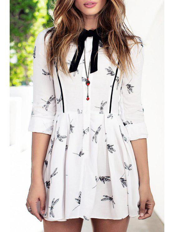 ladies Printed Bowtie Flat Collar Long Sleeves Dress - WHITE XS