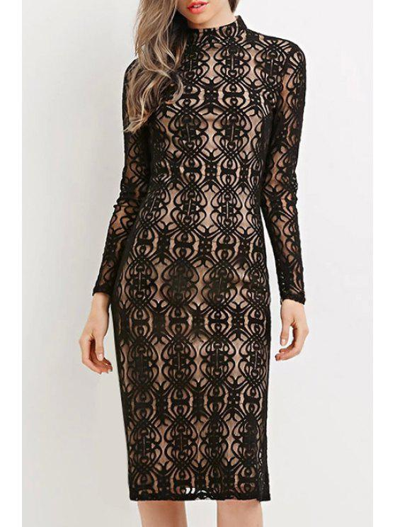 new Solid Color Lace Hook Stand Collar Long Sleeves Dress - BLACK XS