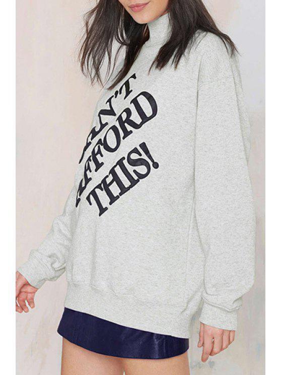 women Letters Print Turtle Neck Long Sleeve Sweatshirt - GRAY XS