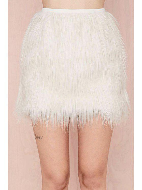 latest White Faux Fur Winter Skirt - WHITE XS