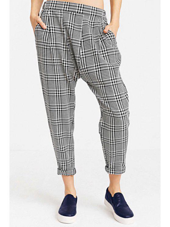 shops Plaid Pattern Harem Pants - WHITE AND BLACK XS