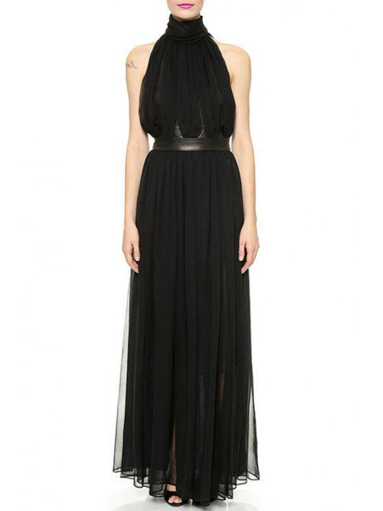 sale Turtleneck PU Detail Black Chiffon Dress - BLACK XS