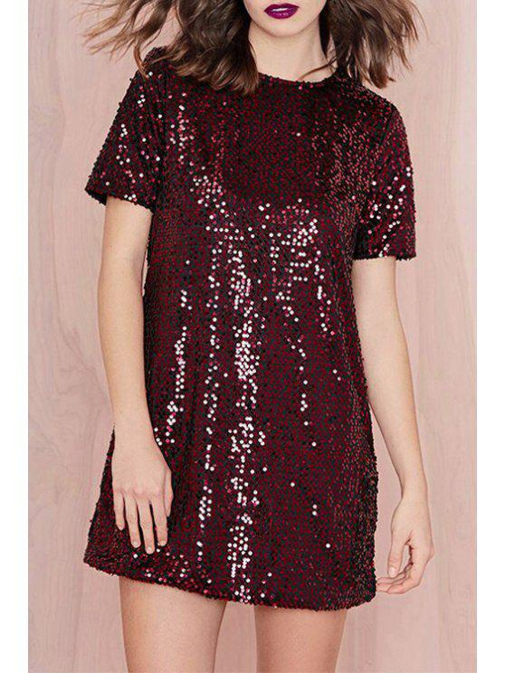 outfits Short Sleeve Sequined Red Dress - WINE RED XS