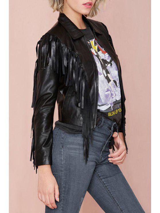 new Solid Color Tassels PU Leather Jacket - BLACK XS