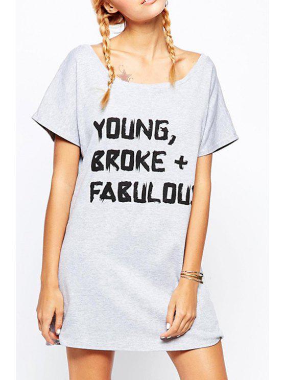 shops Letter Print Round Collar Short Sleeves T-Shirt Dress - GRAY L