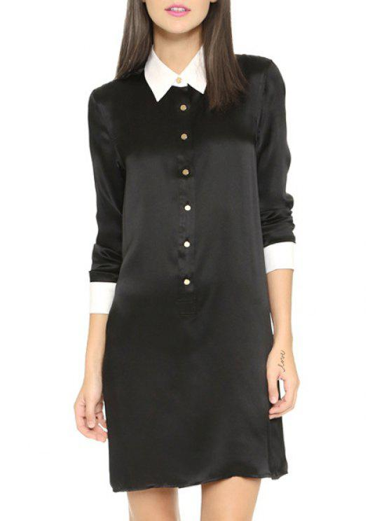 hot 3/4 Sleeve Single-Breasted Shirt Dress - BLACK XS