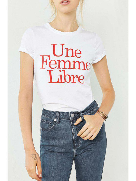 best Round Collar Short Sleeves Letter Print T-Shirt - WHITE XS