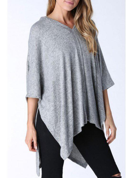 shops Batwing Sleeve Irregular Hem Gray Blouse - GRAY ONE SIZE(FIT SIZE XS TO M)