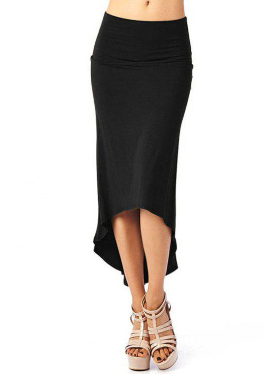 buy High-Waisted Solid Color Dovetail Skirt - BLACK S