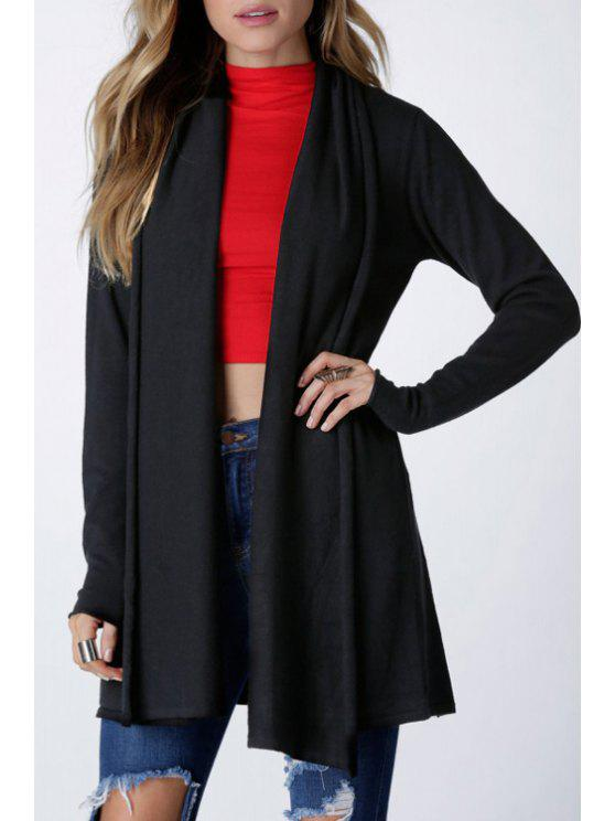 fashion Open Front Solid Color Trench Coat - BLACK S